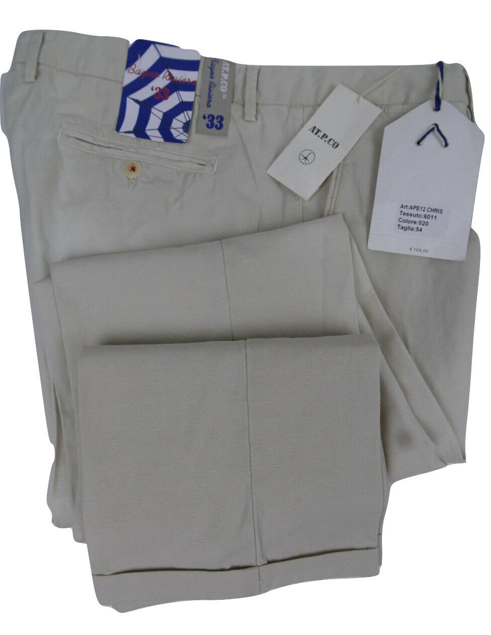 AT.P.CO Napoli 38 UK Linen Cotton SLIM Italian NWTs Pants Marco Hand Made