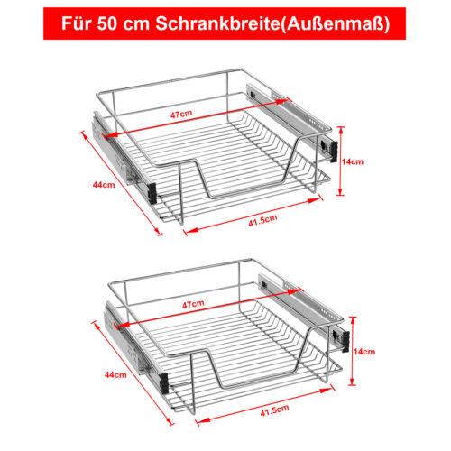 2x Teleskop Schublade Küchenschublade für 30-60cm Küchen Schrank Korbauszug Top