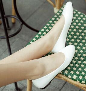 Womens-Super-Plus-Size-Cute-Shiny-Patent-leather-Flats-Single-shoes-College-SHOE