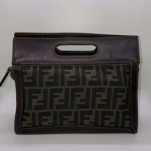 Vintage Fendi Zucca Top Handle Clutch