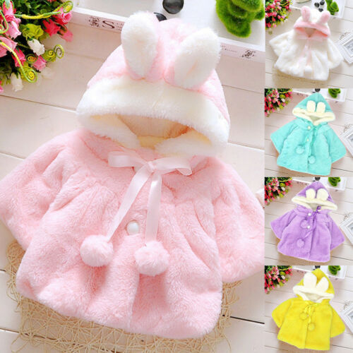 EG/_ Baby Girls Infant Rabbit Ear Hoodie Coat Pom Pom Bowknot Winter Clothes Popu