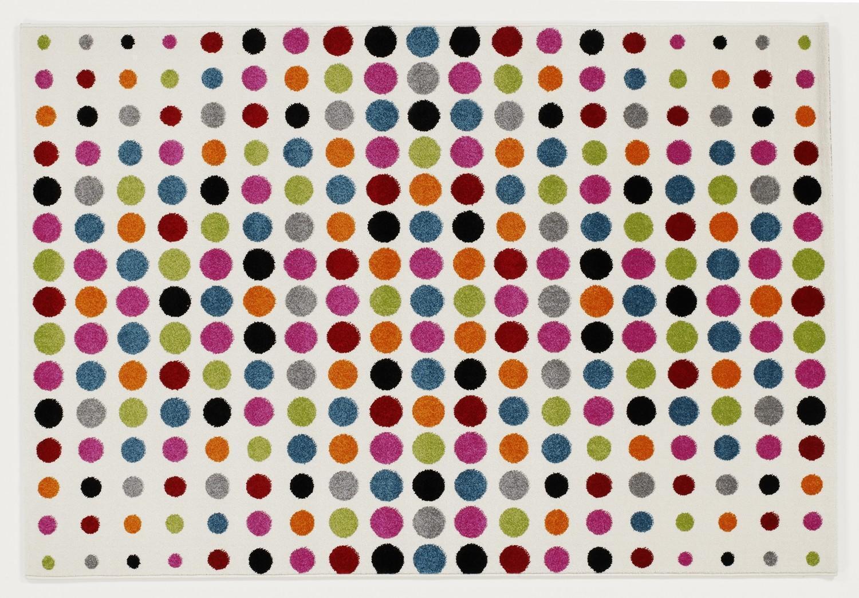Alfombra Multicolor de Diseñador HA003 Point Moderno Puntos 80x150cm de Multicolor Colores con e8d5f6