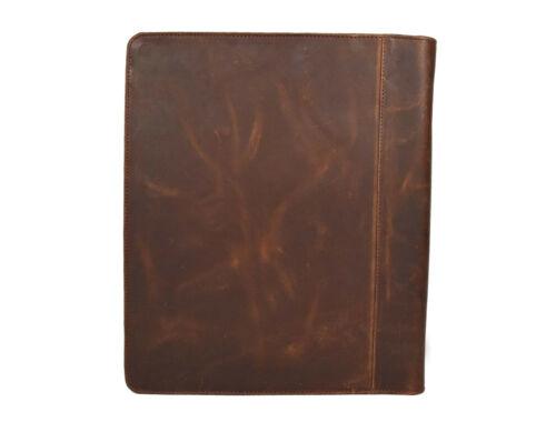 Buffalo Leather Business Portfolio Padfolio Organizer Folder A4 Notepad Zippered