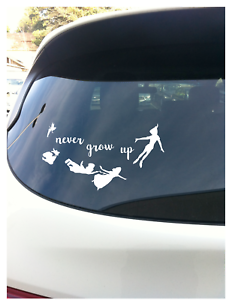 """Never Grow Up Peter Pan White Vinyl 7.5/"""" Vehicle Car Laptop Decal Quote"""