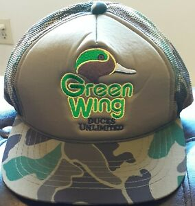 Ducks Unlimited Green Wing Embroidered Green Camouflage Trucker Snapback Hat Nos Ebay