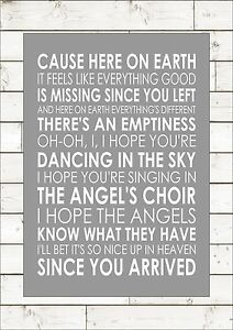 Details about DANCING IN THE SKY BY IZZY & DANNI Song Lyrics Art Inspiring  Motivational Quote
