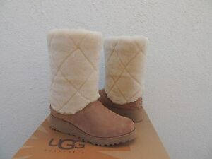 f8e00888c85 Details about UGG ARIELLA LUXE DIAMOND SUEDE/ SHEEPSKIN WEDGE BOOTS, US  7.5/ EUR 38.5 ~NIB