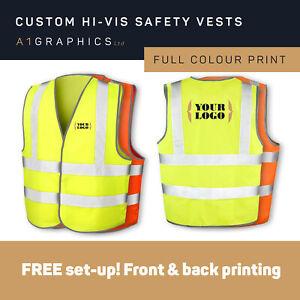 PERSONALISED Hi-Vis Vest LOGO PRINT High Viz Safety Vest EN471 EN ISO 20471