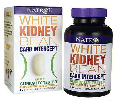 Natrol WHITE KIDNEY BEAN CARB INTERCEPT Phase 2 LOSE FAT Weight Loss 60 capsules