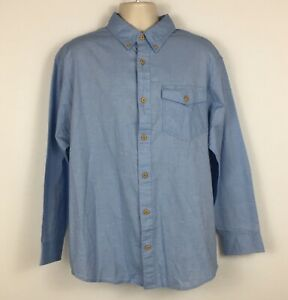 Duluth-Trading-Co-Mens-Long-Sleeve-Button-Down-Shirt-Blue-Chambray-Pocket-Size-L