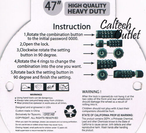 "47/"" Bike Bicycle Combination Cable Lock w//Bracket Heavy Duty Steel Security Lock"