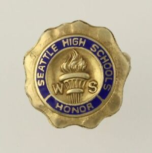 Seattle-High-Schools-Honor-Pin-Vintage-Award-Student-Achievement-Sterling-Silver