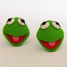 handmade green animal The Muppets Kermit the frog Sesame Street Funny Earrings