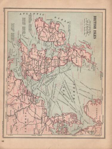 1915 Landkarte ~ Britische Inseln Zeigt Natürlicher Ressourcen Dampfschiffe