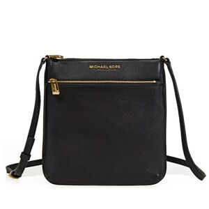 876c6d31b5e8 Image is loading Michael-Kors-Riley-Small-Flat-Leather-Crossbody-Black-
