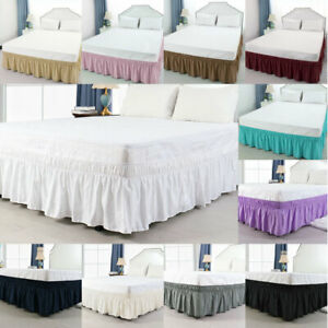 Bed-Skirt-Polyester-Wrap-Around-Dust-Ruffle-15-Inch-Drop-Elastic-Bedding-Bed