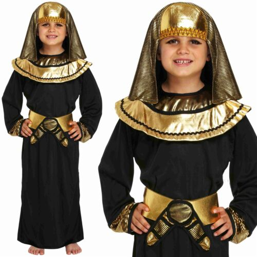 Kids Boys Egyptian Pharaoh King Historical Fancy Dress Costume Book Week Outfit