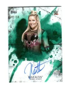 WWE-Natalya-2018-Topps-Undisputed-Green-On-Card-Autograph-SN-2-of-50