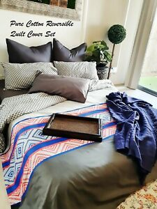 King Size With Pillowcases Set Cotton Reversible Grey Doona Duvet Quilt Cover