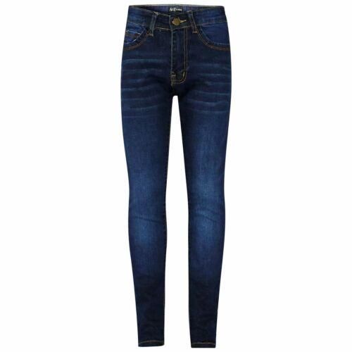 Kids Girls Skinny Jeans Designer Dark Blue Denim Stretchy Pant Fit Trouser 5-13
