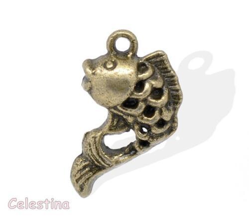 10 Antique Bronze Fish Charms Pisces Pendants 20mm Seaside Beach Fishes