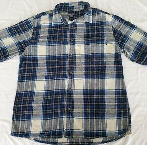 Eddie-Bauer-Mens-Plaid-Flannel-Shirt-Size-L-Gray-Long-Sleeve-Button-Front-Cotton
