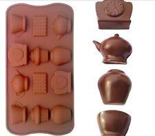 Silikonform Tortendeko Fondant Marzipan Veiner Mold Mould Fimo Uhren Tassen Keks