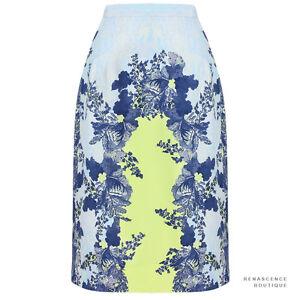 Erdem-Blue-Tones-Acid-Lemon-Floral-Pattern-Aysha-Pencil-Skirt-UK8-IT40
