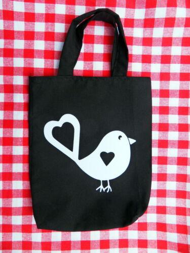 Kinderbeutel Vogel Bird schwarz Kindergartentasche  weiß Velour Bügelbild Flock