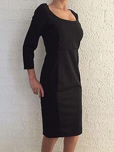 Women-Black-3-4-Sleeve-Formal-Evening-Cocktail-Office-Shift-Dress-Size8-10-12-18