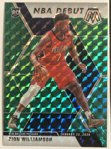 2019-20-PANINI-MOSAIC-269-NBA-DEBUT-ZION-WILLIAMSON-RC-ROOKIE-GREEN-PRIZM-MINT