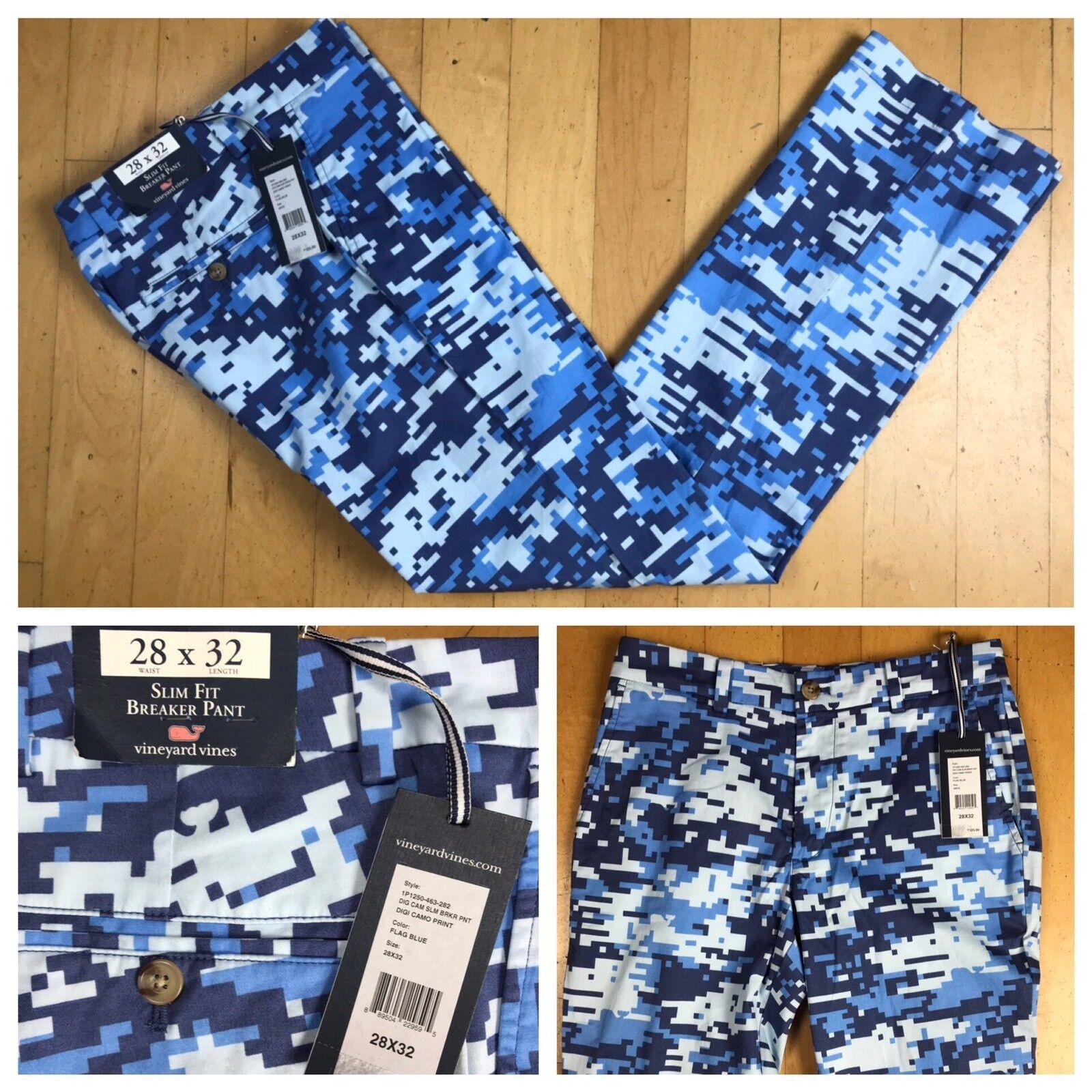 Men's Vineyard Vines Slim Fit Stretch Breaker Digital Camp Flag bluee Pants 28x32