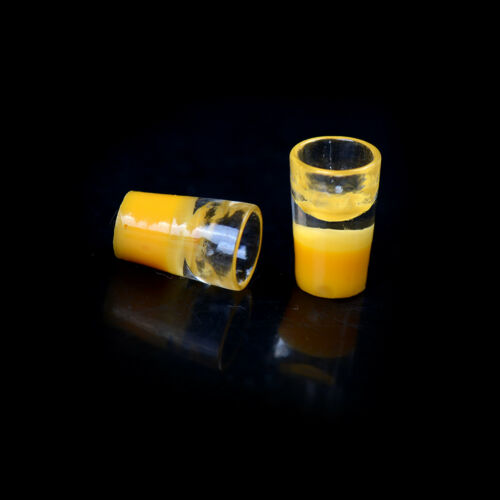 2pcs Miniature Milk Glass Kitchen Orange Drink Food Cup Decor Dollhouse 1//1ODFS