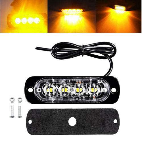 Car Strobe Flash Warning Light Lamp Truck Van Bar DC  12V 24V 4LED Ultra Thin