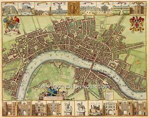 Large Detailed Plan Old Colour Map City of London Poster Street