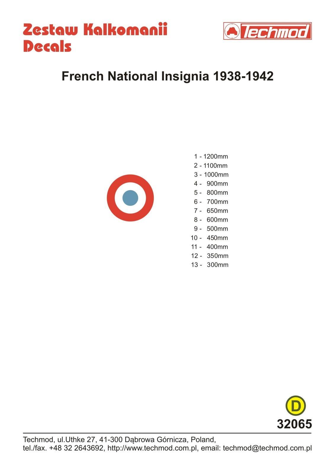 TECHMOD 1 32 FRANCESE NAZIONALE insegne 1938-1942