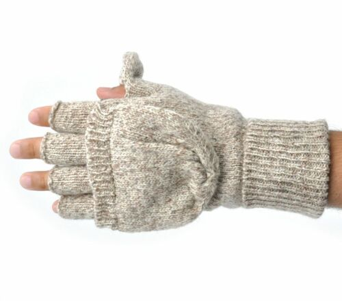Mens Thermal Insulation Knit Fingerless Mitten Winter Gloves W// Thumb Flap