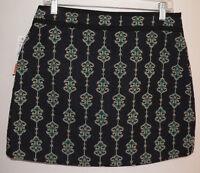 Women's Zara Basic Size Large Blue Print Polyester Blend Knee Length Skirt