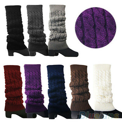Womens Chic Trendy Knitted Braided Leg Warmers Long Stocking Boot Cuffs Socks