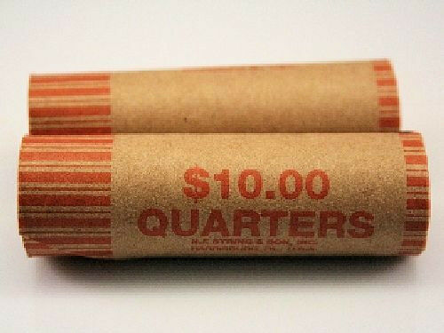 Gunshell Quarter Crimped End Paper Coin Wrappers 40 pack