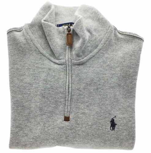Men/'s Polo Ralph Lauren French-Rib Half-Zip Cotton Pullover Sweater