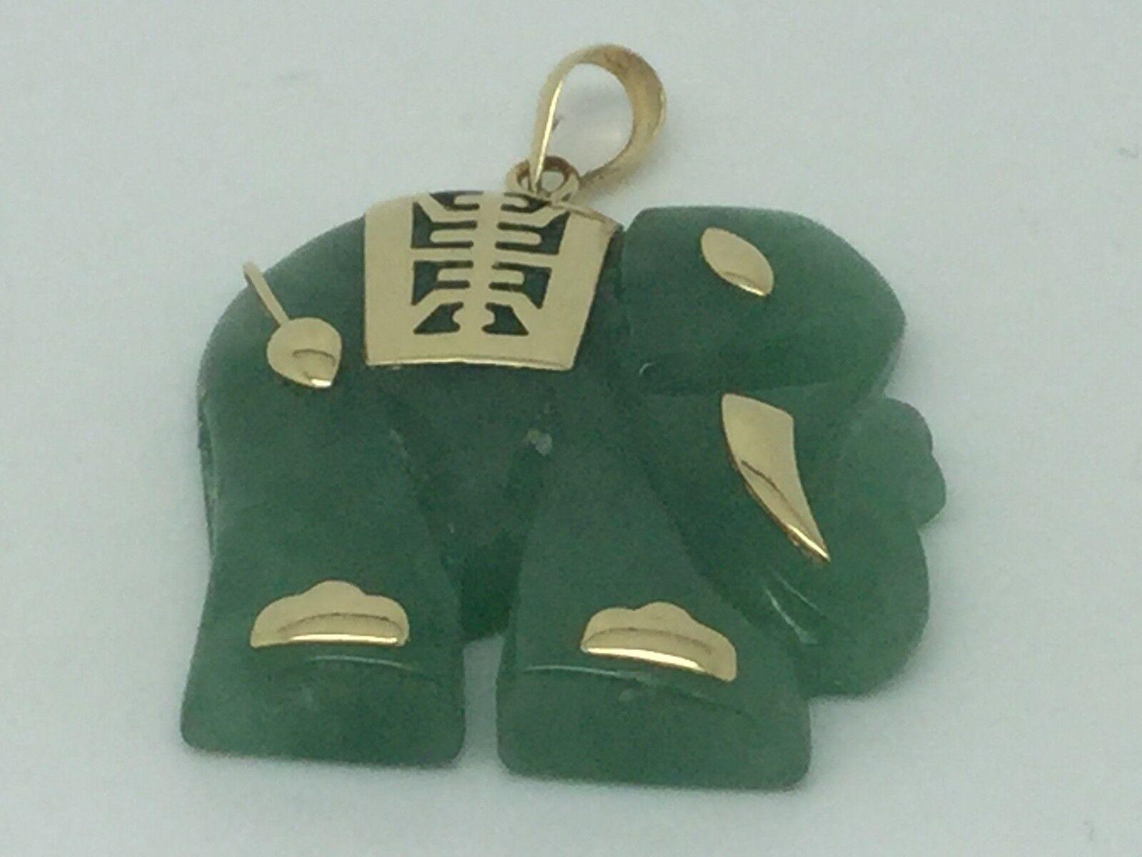 Genuine Green Jade pendant with 14k YG - Elephant   25mmx25mm