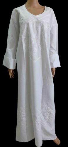 Egyptian Cotton White Embroidered Hajj Haji Umrah Ihram Abaya Jilbab Kaftan 439