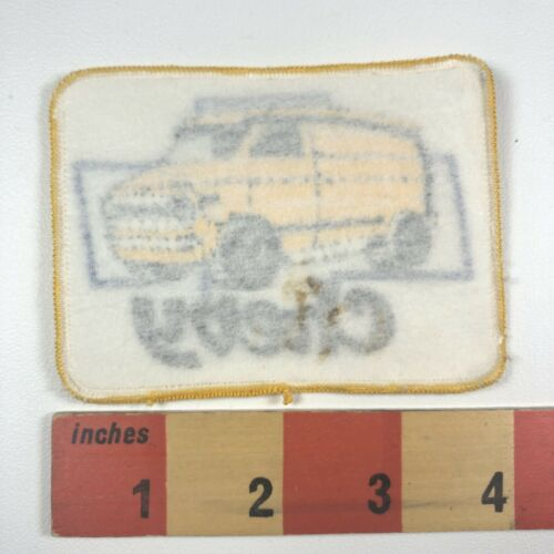 Vintage Embroidered Twill FUNKY YELLOW CHEVY VAN Chevrolet Patch 00N3