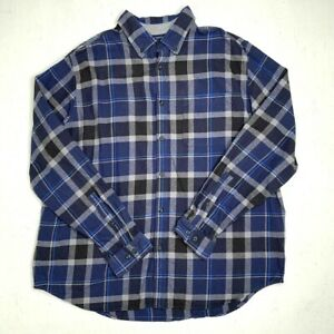 Eddie-Bauer-Flannel-Shirt-Mens-2XL-Long-Sleeve-Plaid-Shirt-Collared-Button-Down