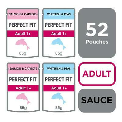 Perfect Fit 1+ Adult Wet Cat Food Pouches Mixed Fish 52x85g Cat Pouches