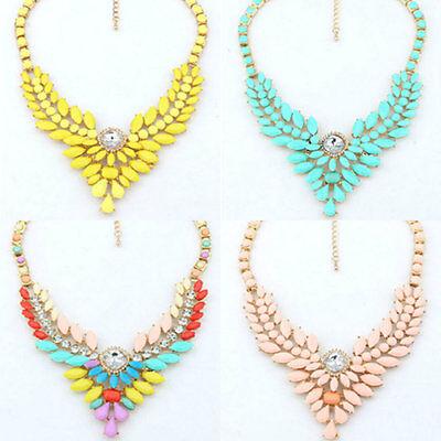 Womens Fashion Jewelry Bib Necklace Drop Statement Chunky Collar Chain Gold