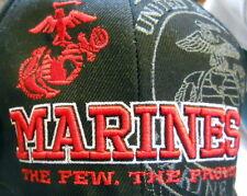 New USMC Marines Black Hat Red Lettering Eagle Globe Anchor Logo Few Proud Words