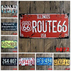 US SELLER USA Route 66 Illinois tin sign  car license plate top interior