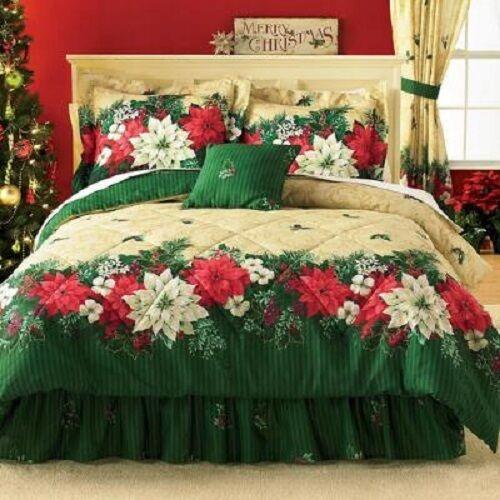 3Pc Twin Poinsettia Border Comforter Set Grün Floral Holiday Flowers Comforter